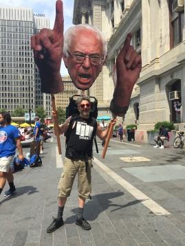 Creative Bernie supporter on the streets for Bernie rally. PC: Alyssa Compa