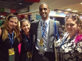 Rowan Radio team: From right to left: Geneva Gerwitz, Derek Jones, Alyssa Compa, and Kelly Green.